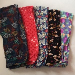 Lot of 5 Lularoe Girls L/XL Leggings Thumper Owl